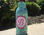 CLOVER personalized monogram bottle beverage insulator - zippered back for longnecks - weddings, bachelorette, parties, beaches