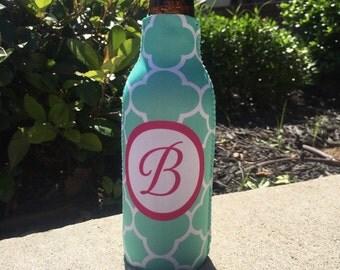 CLOVER personalized monogram bottle beverage insulator - zippered back for longnecks - weddings, bachelorette, parties, beaches