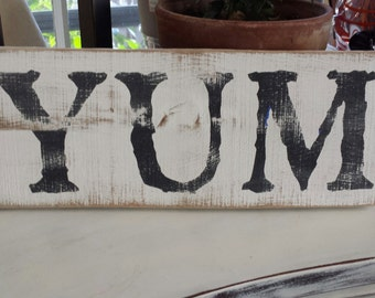 YUM Sign / French Country Decor / Barnwood Farmhouse Sign/ Reclaimed wood / Country Farm Wall Decor / Country Kitchen Decor / Porch