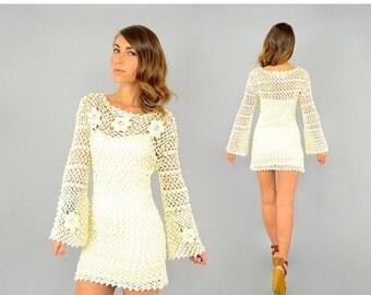 SUMMER SALE 60's Cream CROCHET Mini Dress