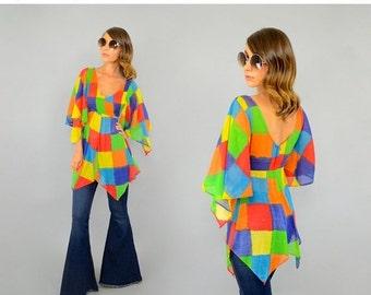 SUMMER SALE 70's Rainbow CHECKERED Tunic