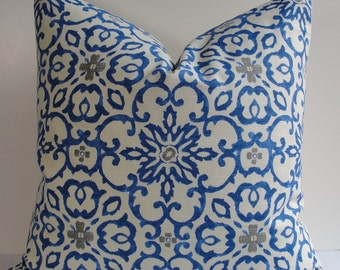 HGTV Decorative pillow cover blue gray ivory scroll trelllis lattice throw pillow, accent pillow designer pillow moroccan tile
