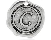 """Add On Initial """"C"""" Charm, personalized letter charm, monogram, Personalized Keychain, Personalized Necklace, antiqued silver plated charm"""