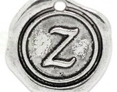 """Add On Initial """"Z"""" Charm, personalized letter charm, monogram, Personalized Keychain, Personalized Necklace, antiqued silver plated charm"""