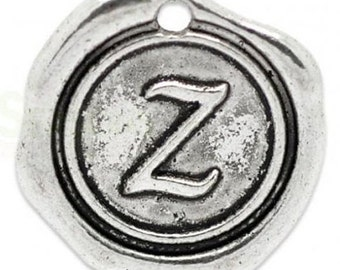 "Add On Initial ""Z"" Charm, personalized letter charm, monogram, Personalized Keychain, Personalized Necklace, antiqued silver plated charm"