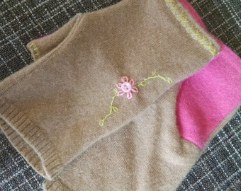 Wool fingerless mittens hand made hand embroidered upcycled