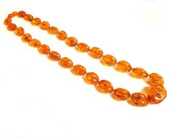 "Baltic Amber Honey Necklace Beads Natural Sparkling Olive 20"" 33.4 gram"