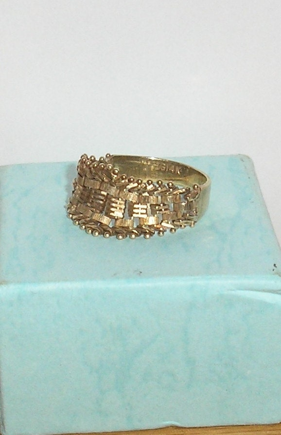 Vintagejewelry ig 14k gold flexible woven band ring size 8 for Highline custom jewelry ig