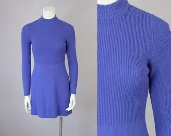 60s Vintage Wool Knit Mock Turtleneck Mini Dress (XS)