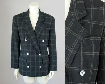 80s Vintage DIOR Charcoal Windowpane Plaid Wool Blazer (M; US 8)