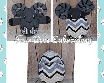 Ram peekaboo baby hideaway stuffed plush animal egg minky fabric plushie stuffie