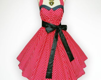 Bunny Vintage Red & White Polka Dot 50s Pin up Rockabilly Swing Dress Full Swing Skirt