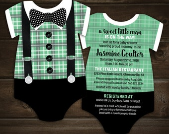 Bow tie Baby Shower Invitations, Mint Plaid Suspenders invite, Bodysuit shaped, Little Mister, little man, 10 printed cards with envelopes