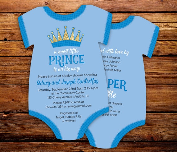 little prince baby shower invitations baby blue bodysuit invitations
