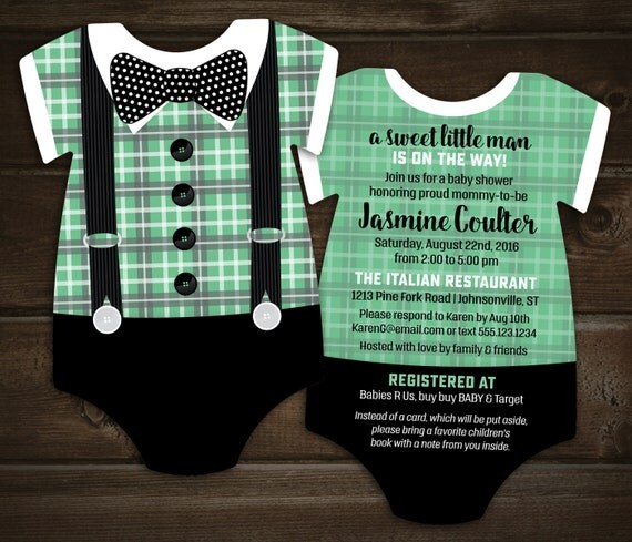 Items Similar To Bow Tie Baby Shower Invitations Mint