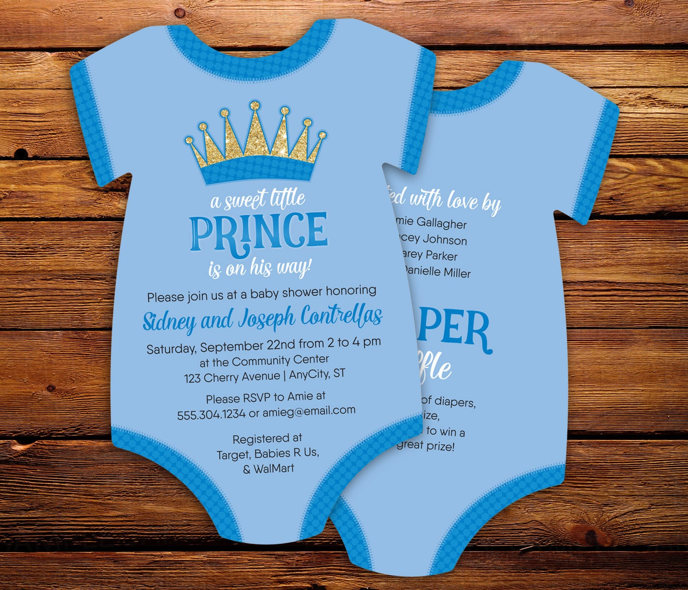 little prince baby shower invitations baby blue bodysuit