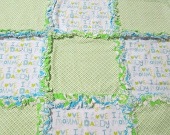 "Small Infant Boys "" I Love Mommy and Daddy"" Rag Quilt"