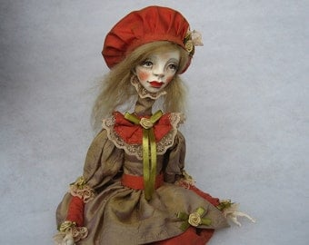 Milana Art doll OOAK doll Human figure doll Collecting doll Art clay doll Air dry clay doll