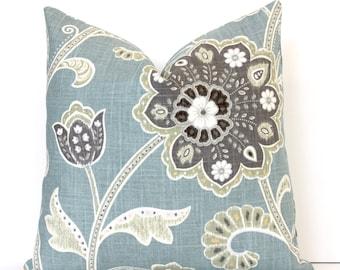 Pale Spa Blue Jacobean Decorative Designer Pillow Cover accent cushion robins egg teal aqua charcoal gray cream black ikat boho floral