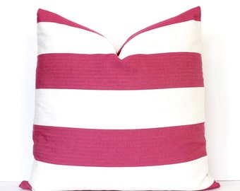 Dark Pink and Cream Stripe Decorative Designer Pillow Cover accent throw cushion striped nautical modern preppy classic fuchsia raspberry 22