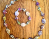 Necklace - mauve paperbeads and polished stones