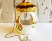 Vintage Merry Mushroom Hanging Planter or Bird Feeder - Sears Roebuck - 1976 - Great 70s Colors -- Brown, Orange, Green and Mustard Yellow
