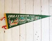Vintage Hollywood California Souvenir Pennant - Hollywood Bowl, Grauman's Chinese Theatre, Hollywood Blvd. - Mid-Century 1960s