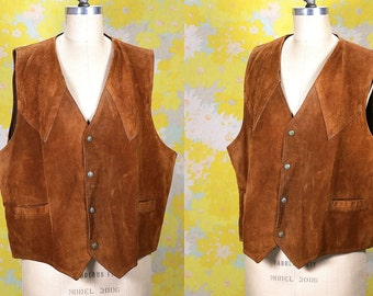 Vintage Vtg Vg 1970's 70's Genuine Leather Golden Thread Made in Milwaukee Country Western Vest Rocker Ranch Wear Outerwear Men's XL