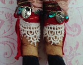 Gypsy boots shoes fit for Blythe or Barbie doll ~~ Vintage Lace wrapped boots ~~ Heart shaped lock charms