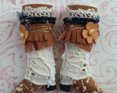 Gypsy boots shoes fit for Blythe or Licca doll ~~ Vintage Lace wrapped boots ~~ Fringe Mori Boho