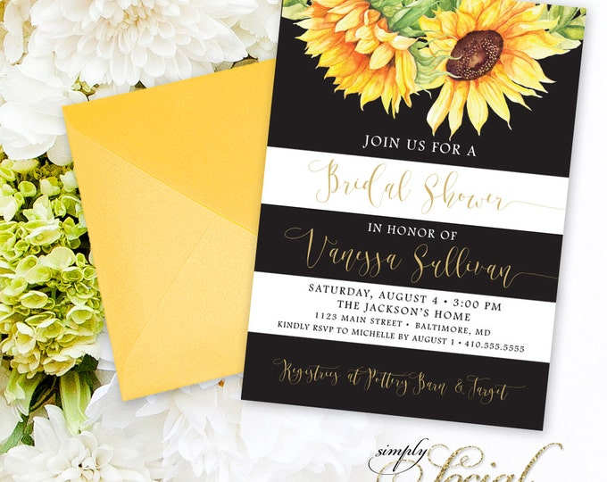 Sunflower Bridal Shower Invitation - Watercolor Sunflowers and Black and White Stripes Bridal Shower Invitation Printable