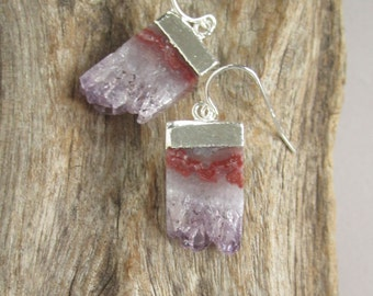 Druzy Earrings Amethyst Druzy Quartz Stalactite Slices Sterling Silver