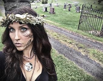 Witch Crown, fairy, forest, Halloween, witch, gothic, tiara, zombie, Headband, hair accessories, wedding, flower crown, nymph, fairy, bride