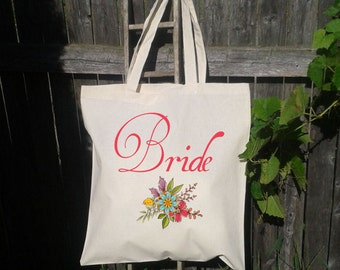 Future Bride To Be - Personalized Wedding Bag Tote, Floral Bride Tote Bag
