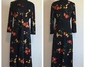 HALF OFF Vintage 1970s Black Floral Long Sleeve Maxi Dress M/L
