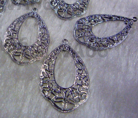 DIY Teardrop Silver Filigree Lace Chandelier Earrings Parts Hoops ...