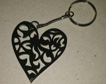CLEARANCE black heart acrylic keyring