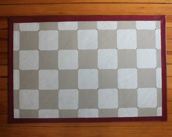 Tan and White Checker Floor Cloth