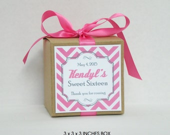 Personalized favor box / Sweet 16 favor / Birthday favor / Wedding favor / Personalized party favors - Set of 10