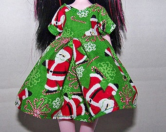 Handmade Monster High doll clothes - green with santa claus and candy cane christmas dress - Clearance