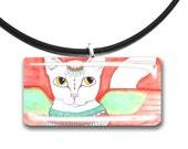 White cat, Fantasy art glass tile pendant, adorable cat, Egypt, Egyptian cat, winged cat