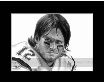 portrait drawing of Tom Brady (matted print)