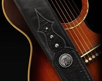 Leather Guitar Strap, Snakeskin Guitar Strap, Custom Guitar Strap:  Ebony Knight Guitar Strap