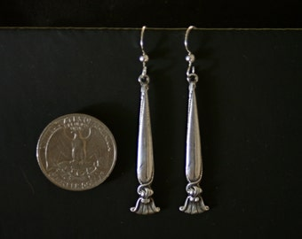 ALL Solid Sterling silver 1950 Wallace Romance of the Sea bride spoon earrings chandelier dangle vintage flatware jewelry handmade