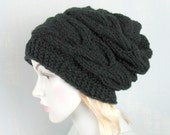 Slouchy Knit Hat With Flower Womens Knit Hat Knit Hat with  Flower Winter  Hat Slouch Beanie   Knit Hat Knit Accessories Slouchy Hat