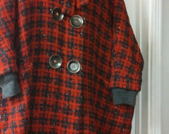 FEBRUARY SALE Vogue Amazing Gray and Red Winter Coat with Buttons and Pockets