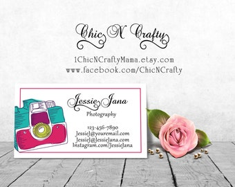 DIY Printable Pre-made business card/ printable business card/custom business card design/Cute Girly Chic/Photographer