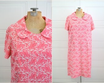 1970s Red Paisley Dress