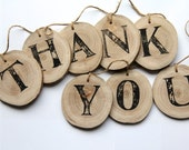 Thank You banner - photo prop - wood tree branch slice and jute twine