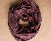 Cotton Infinity Scarf - Black Red White Yellow Plaid - Brushed woven cotton flannel - ready to ship
